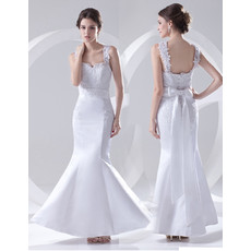 Beautiful Mermaid/ Trumpet Floor Length Satin Wedding Dress