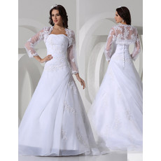 Classic A-Line Strapless Court Train Satin Wedding Dress
