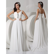Simple Elegant A-Line V-Neck Floor Length Pleated Chiffon Beach Wedding Dress