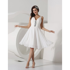 Inexpensive Modest A-Line V-Neck Knee Length Ruched Chiffon Beach Wedding Dress