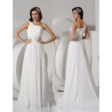 Elegant A-Line One Shoulder Sweep Train Chiffon Beach Wedding Dress