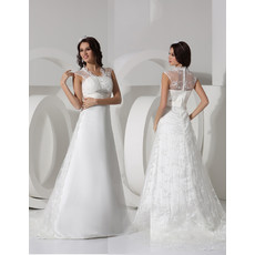 Discount Elegant A-Line Court Train Satin Wedding Dress for Spring