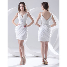 Informal Sheath Spaghetti Straps Short Chiffon Beach Wedding Dress