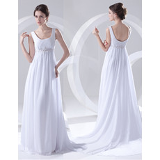 Cheap Elegant Empire Scoop Court Train White Chiffon Wedding Dress