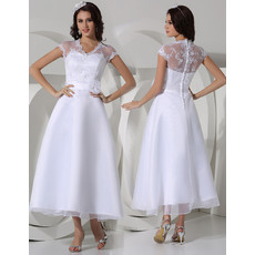 Elegant A-Line Illusion Neckline Tea Length Satin Organza Garden/ Outdoor Wedding Dress