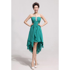 Affordable Charming Asymmetric High-Low Chiffon Empire Halter Bridesmaid Dress