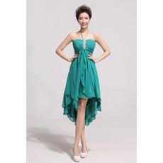 Affordable Charming Asymmetric High-Low Chiffon Empire Halter Bridesmaid Dress