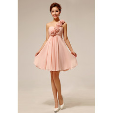 Discount Beautiful Elegant One Shoulder Chiffon Empire Short Bridesmaid Dress