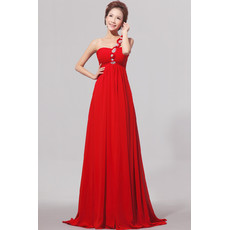 Cheap One Shoulder Empire Waist Red Chiffon Long Bridesmaid Dress for Spring