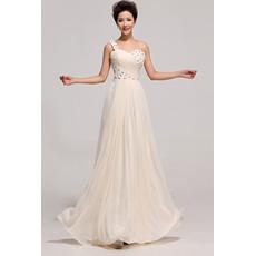 Discount Beautiful One Shoulder Chiffon Long A-Line Bridesmaid Dress