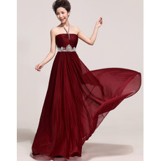 Cheap Elegant Halter Chiffon Long Sheath/ Column Bridesmaid Dress