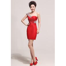 Cheap One Shoulder Sheath/ Column Short Satin Cocktail Party Dress for Women