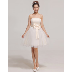 Discount Custom Designer A-Line Strapless Short Satin Organza Bridesmaid Dress