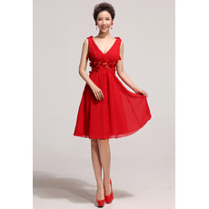 Affordable Designer V-Neck Knee Length Red Chiffon A-Line Bridesmaid Dress