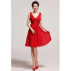Affordable Designer V-Neck Knee Length Red Chiffon A-Line Bridesmaid Dress
