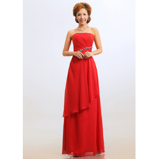 Classy Sheath Strapless Floor Length Chiffon Bridesmaid Dress for Wedding