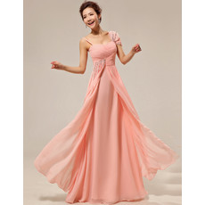 Beautiful Custom Asymmetric Chiffon Floor Length Sheath Bridesmaid Dress