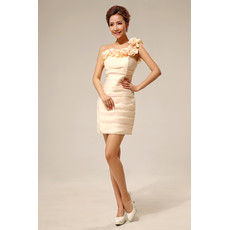 Women's Sexy One Shoulder Column Short Satin Cocktail Party Dress