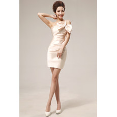 Women's Sexy One Shoulder Column Short Satin Cocktail Party Dress for Summer