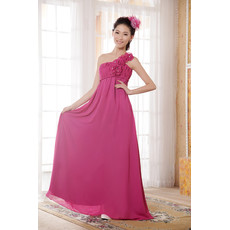 Cheap Custom Empire Waist One Shoulder Chiffon Floor Length Bridesmaid Dress