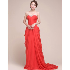 Affordable Chiffon Sheath Sweetheart Sweep Train Red Prom Evening Dress for Women