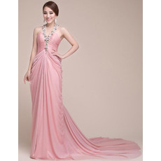 Sexy Elegant Chiffon V-Neck Long Court Train Sheath Prom Evening Dress for Women