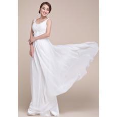 Beautiful Designer Chiffon Empire Floor Length V-Neck Prom Evening Dress for Women