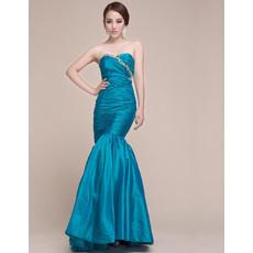 Custom Mermaid Sweetheart Floor Length Taffeta Prom Evening Dress for Women
