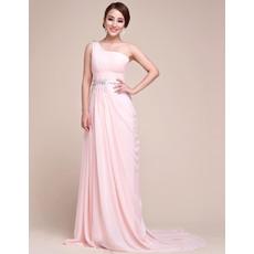 Elegant One Shoulder Chiffon Sweep Train Sheath Prom Evening for Women
