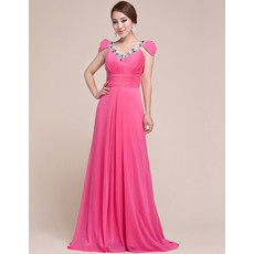 Beautiful Cap Sleeves Chiffon V-Neck Sweep Train Prom Evening for Women