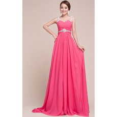 Sexy Straps Chiffon Sheath/ Column Floor Length Prom Evening for Women