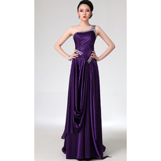 Affordable Beautiful Sheath One Shoulder Satin Long Prom Evening for Women