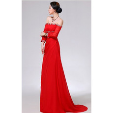 Elegant Off-the-shoulder Long Sleeves Chiffon Prom Evening for Women