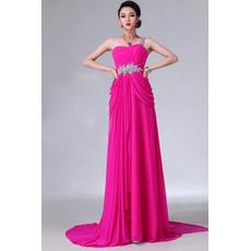 Affordable Designer One Shoulder High Waist Chiffon Column Long Prom Evening Dress for Women