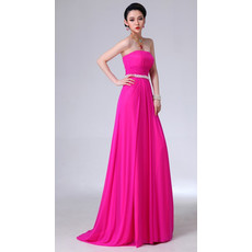 Affordable Simple Sheath Chiffon Strapless Long Prom Evening Dress for Women