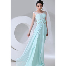 Affordable Designer Chiffon Sheath Scoop Long Prom Evening Dress for Women