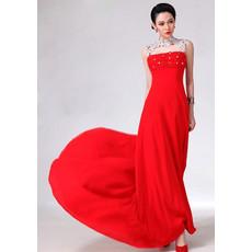 Amazing Mandarin Collar Chiffon Sheath Floor Length Prom Evening Dress for Women
