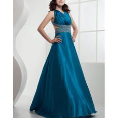 Affordable Sexy Satin A-Line Floor Length V-Neck Prom Evening Dress for Women