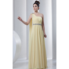 Affordable One Shoulder Chiffon Floor Length Sheath Prom Evening Dress for Women