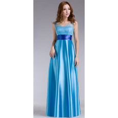 Stylish Satin A-Line High Waist Floor Length V-Neck Evening/ Prom Dress for Women