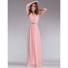 Elegant Halter Chiffon Column Floor Length Prom Evening Dress for Women and Girls