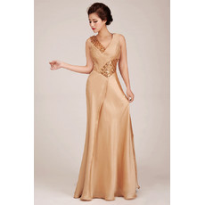 Stunning Sheath V-Neck Long Satin Formal Evening Dress for Women