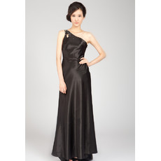 One Shoulder Black Satin Sweep Train Formal Evening Dress for Women