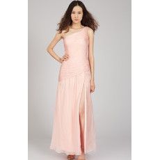 One Shoulder Chiffon Long Sheath Formal Evening Dress for Women