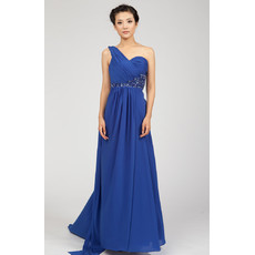 One Shoulder Chiffon Sweep Train Empire Formal Evening Dress for Women