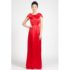 Cap Sleeves Satin Column Floor Length Formal Evening Dress for Women