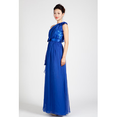 One Shoulder Blue Chiffon Column Long Evening Dress for Women
