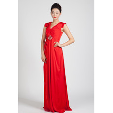 Modern High Waist V-Neck Long Red Chiffon Prom Evening Dress for pregnant Women