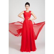 Beautiful Chiffon Long Red Straps A-Line Prom Evening Dress for Women