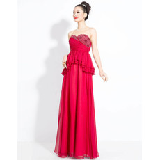 Beautiful Chiffon Sweetheart Column Floor Length Prom Evening Dress for Women